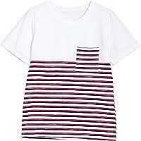SLR Camiseta de Manga Corta Camiseta Fina Suelta de Verano para Mujer Camiseta de Cuello Redondo asimétrico a Rayas,Tiras Rojas,M