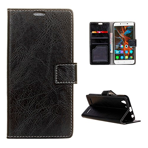 Casefirst Lenovo Vibe K5 K5 Plus Wallet Case, Lenovo Vibe K5 K5 Plus Leather Case, Premium PU Leather Defender Cover Case Folio Stand Bumper Back Cover for Lenovo Vibe K5 K5 Plus - Black