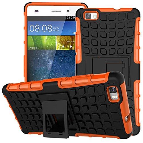 Preisvergleich Produktbild Nnopbeclik Huawei P8 Lite Hülle,  Dual Layer Rugged Armor stoßfest Handy Schutzhülle Silikon Tasche für Huawei P8 Lite - Orange + 1x Display Schutzfolie Folie