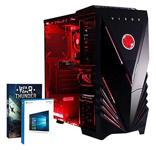 Cheap Vibox Vision 72 Gaming PC – with Warthunder Game Bundle, Windows 10 (3.8GHz AMD A4 Dual Core Processor, Radeon R5 230 Graphics Card, 3TB Hard Drive, 16GB RAM, Vibox Commando Red LED Case) Reviews
