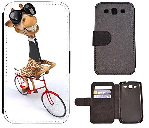Flip Cover Schutz Hülle Handy Tasche Etui Case für (Apple iPhone 5 / 5s, 1042 Tiger Animiert Braun Weiß) 1043 Giraffe Fahrrad Braun Weiß Schwarz Animiert