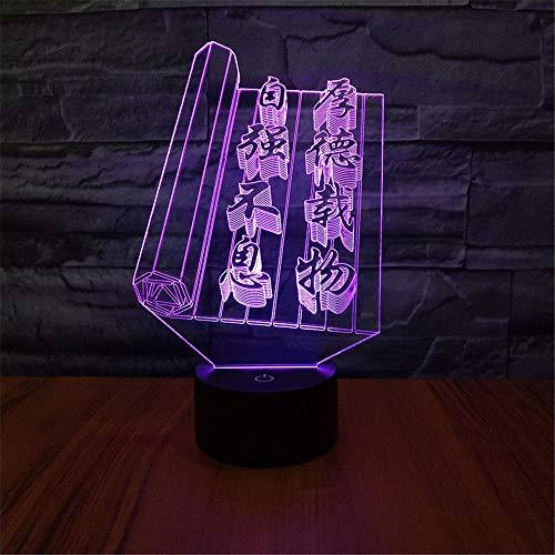 Nachtlicht chinesische wörter grafik art deco led lampen kinder schlafzimmer schlaf licht 3d tischlampe nachtlicht schalter schlafzimmer kinder geschenk -