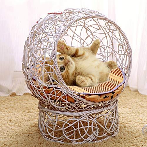 ZZQ Rattan Eisen Handwäsche Haustiere Betten & Sofas Katze Haus Villa Käfig Vier Jahreszeiten Pet Nest Wicker Hundebetten für kleine Welpen Teddy Kennel -