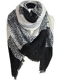foulards, Tefamore Femmes Couverture carrée à carreaux tartan Écharpe Large  Vérifié ... 09d10580161