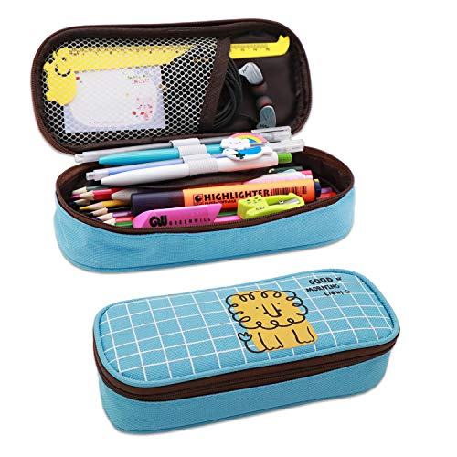 Shinewings Pencil Pouch, Big Capacity Canvas Pencil Pouch Stationery Organizer Multifunction Cosmetic Makeup Bag, Cotton Linen Pencil Case for Boys and Girls - 0.64*0.29*0.14 feet (Blue)