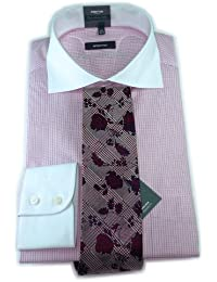 eterna Premium Dynamic Cotton Hemd weiß rosa kariert mit Krawatte Gr. 40