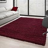 Teppich Hochflor Wohnzimmer Langflor Shaggy Unifarbe vers. Farben und Größen - Rot, 200x200 cm Quadrat