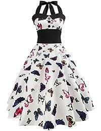 Amazon.it  abito farfalle - Blu   Donna  Abbigliamento 4351238fd2d