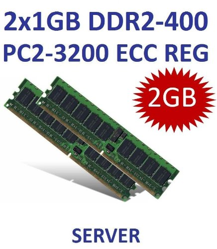 Dual Channel Kit: 2 x 1 GB = 2GB 240 pin DDR2-400 ECC Registered DIMM (400Mhz, PC2-3200R, CL3, 1Rx4, Single Rank) - 100% kompatibel zu IBM FRUs# 73P2866, 73P2870, 39M5809, (2x) 39M5808 - passend für I (Dual-channel Ddr2-400-mhz-dimms)
