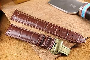 bandas marrones 12-26mm reloj de cuero de lujo de lujo correas de reemplazo cocodrilo grano cuero genuino italiano hebilla de despliegue por AUTULET