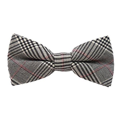 DonDon Herren Fliege 12 x 6 cm kariert gebunden und stufenlos justierbar aus Baumwolle im Tweed Style grau-schwarz