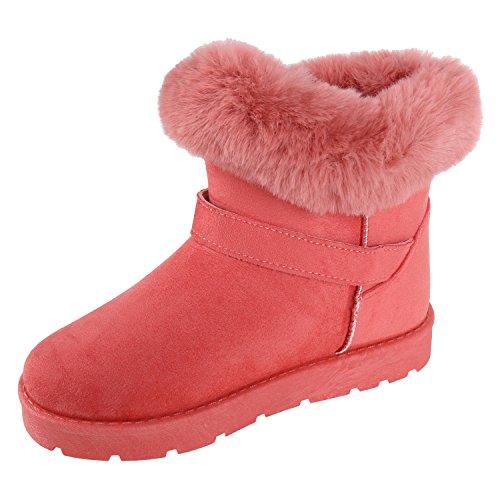 Damen Stiefeletten Stiefel Kunstfell Schlupfstiefel Boots Flandell Pink Schnallen