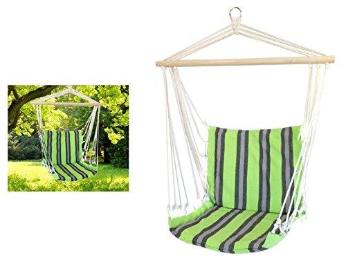 HUKITECH Hochwertiger Hängesessel Hängestuhl (bis 120 kg) reißfest und pflegeleicht - Hänge Sessel Stuhl Hängematte Relaxsessel (Grün) (Bali Tunika Baumwolle)