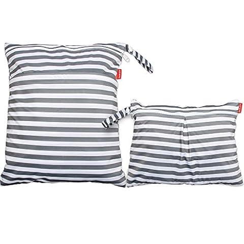 Damero 2 pièces Sac à couche Organisateur à couche humide et sales vêtements Sac Bandes grises