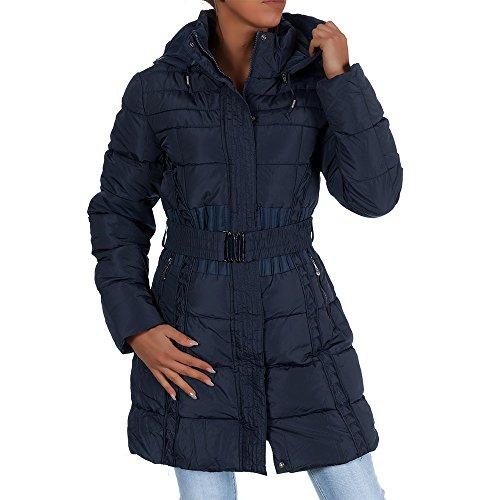H434 Damen Winter Jacke Steppjacke Parka Jacket Daunen Look Winterjacke Dunkelblau