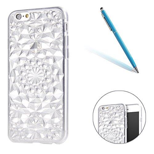 iPhone 6Plus Caso Cassa,iPhone 6sPlus Back Cover, CLTPY Marvel Colorato Belle Particolari 3D Cristallo Modello del Diamante Disegni Shell Skin in Liscio Smooth Toccare Gomma,Resistente Urti Antiurto C Bianca