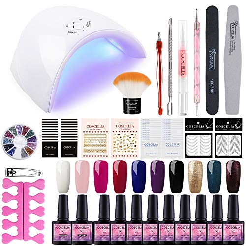 Saint-Acior Kit Uñas Semipermanente10PCS Esmalte en Gel Soak off 8ml 36W UV/LED Lámpara...