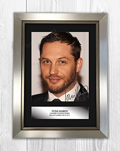 Engravia Digital Tom Hardy Signed Autograph Reproduction Mounted Photo A4 Print (Silver Frame)