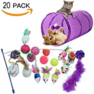 HOMIMP 20 Packs Cat Interactive Toys Set - 2 Way Tunnel,Bell Crinkle Balls,Sisal Mouse, Catnip toy, Feather Teaser Wand