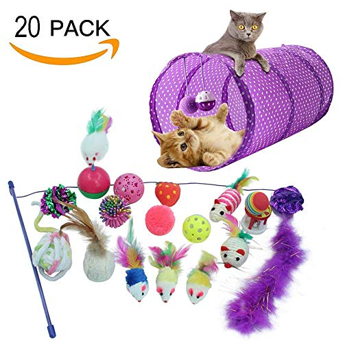 HOMIMP 20confezioni Cat InterActive Toys–Set di 2WAY tunnel, bell Crinkle palle in sisal, mouse, Catnip Toy, Feather Teaser Wand