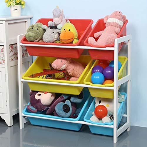 FENSIN Kinder Aufbewahrungsregal Kinderregal Spielzeugregal Spielzeugkiste Kommode für Spielzeug und Bücher Multi Toy Organizer 64x28x60cm (3 große und 3 kleine) - Schwarze Abgerundete Metall-rahmen