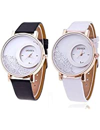 Freny Exim Pack Of 2 Letest Collation Fancy And Attractive White And Black Movable Diamonds In Dial Fancy Leather...