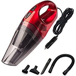 Aspirador de Coche, DC 12V 120W 4500 pa Potente Aspiradora de Coche de Mano para Auto Automático vacuum cleaner, Filtros HEPA, con cable 4,5M y Bolsa de Transporte, Rojo, por Trehai