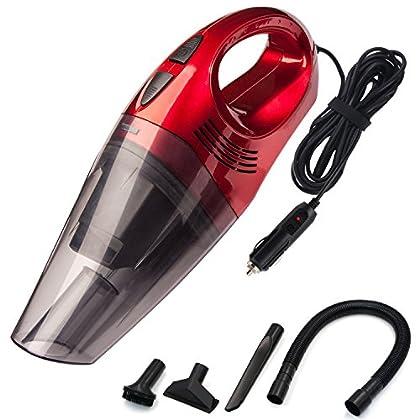 Aspirador de Coche, DC 12V 120W 3500 pa Potente Aspiradora de Coche de Mano para Auto Automático vacuum cleaner, Filtros HEPA, con cable 4,5M y Bolsa de Transporte, Rojo, por Trehai