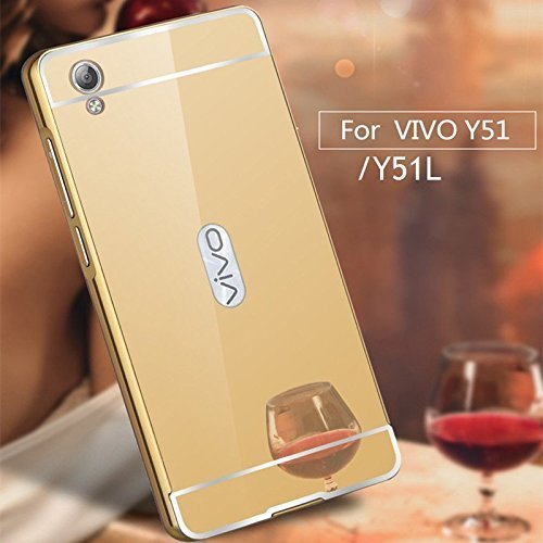 SDO™ Metal Bumper Frame Case with Acrylic Mirror Back Cover Case for Vivo Y51 / Y51L (Gold) + Micro USB Charging Cable