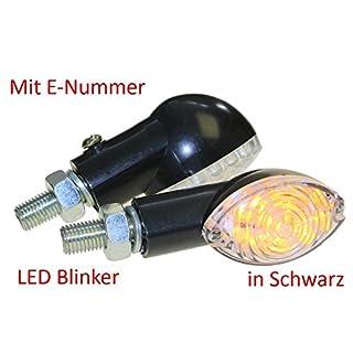 Motorrad Mini Blinker LED Arken schwarz klar E-geprüft M10, universal
