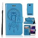 LMAZWUFULM Hülle für Huawei LUA-L21 / Huawei Y3 II (4,5 Zoll) PU Leder Magnetverschluss Brieftasche Lederhülle Eule und Traumfänger Muster Standfunktion Ledertasche Flip Cover Blau