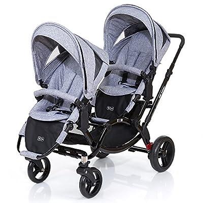 ABC Diseño Zoom–Carrito doble de gemelos y hermanos–Graphite Black, incluye 2accesorios de coche deportivo–Cochecito con accesorios como asiento para bañera o silla de coche para recién nacido