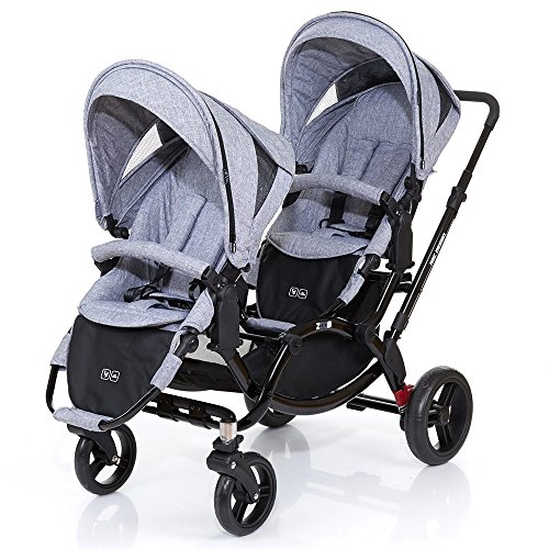 ABC Design Zoom - Zwillings- und Geschwisterkinderwagen - Graphite Black | Inklusive 2 Sportwagenaufsätzen - Kinderwagen mit Zubehör wie Babywanne oder Autositz ab Geburt nutzbar
