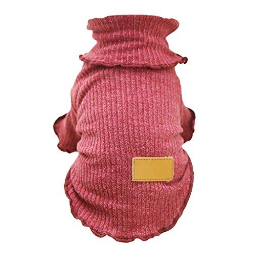 Stricken Kleine Hunde Pullover Winter warm Pet Puppy Pullover Shirt Kleidung (Stricken Rollkragen Pullover)