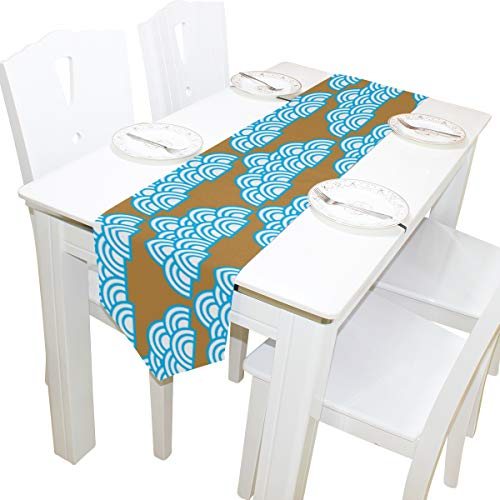 Yushg Wave Blue Ocean River Dresser Schal Tuch Abdeckung Tischläufer Tischdecke Tischset Küche Esszimmer Wohnzimmer Home Hochzeitsbankett Dekor Indoor 13 x 90 Zoll (Halloween Wave New Bar)