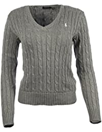 aa8fc3c97e8211 Ralph Lauren Polo Cable Knit V-Neck Cotton Pullover Kimberly Grau