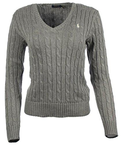 Polo Ralph Lauren Cable Knit V-Neck Cotton Pullover Kimberly S Grau (Ralph Pullover Lauren Polo)