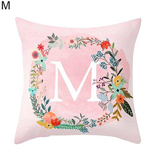 Kissen mit rosa Buchstabenmuster Sofa Bett Zuhause Deko Kissenbezug, 45cm x 45cm, Polyester, M, Einheitsgröße