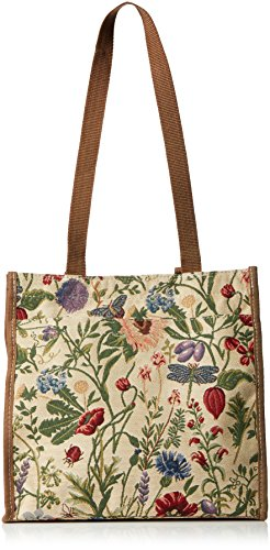 Signore/ragazze Shopping Bag a tracolla in tela Mattina Giardino Design, Green, Blue, Pink, Medium