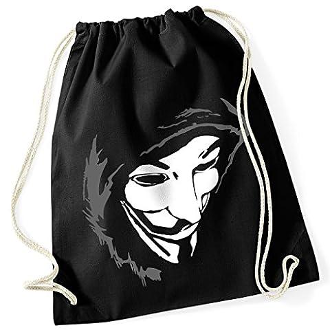 Guy Fawkes Maske remember V wie Vendetta / Turnbeutel Fun Motiv Aufdruck / Rucksack GYM Jutebeutel / Ideales Geschenk, (Fun Schule Halloween Kostüme)