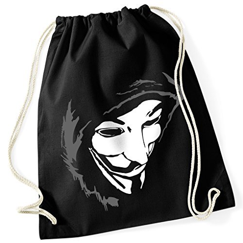 Guy Fawkes Maske remember V wie Vendetta / Turnbeutel Fun Motiv Aufdruck / Rucksack GYM Jutebeutel / Ideales Geschenk, Color:Schwarz