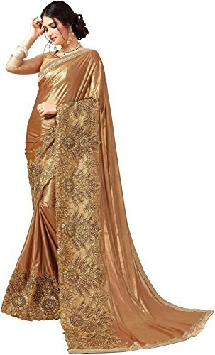 Magneitta Lycra Heavy Border Saree for Women With Blouse Piece (97105_Gold)