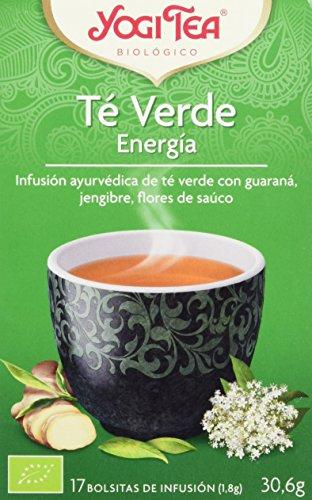 DESCRIPCIÓN: Pack de 6 Cajas de Yogi Tea Infusión Biológica en Bolsitas Té Verde Energía 17x1,8 g INGREDIENTES: Té verde*(72%), guaraná*(10%), hierba de limón*, menta*, aromas naturales, kombucha deshidratada*. (* ingredientes procedentes de agricult...