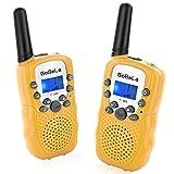 Bobela T388 Walky Talky Kinder Funkgeräte Set mit Taschenlampe LCD Dispplay / VOX PMR Lizenzfrei Walkie Talkie 8 Kanal 0.5w 3km Woki Toki Geschenke für Urlaub Weihnachten (2er-Set, gelb)