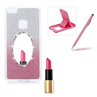Diamond Mirror Case for Huawei P8 Lite,Bling Silicone Case for Huawei P8 Lite,Herzzer Gradient Color Glitter Sparkle Rhinetones Soft TPU Bumper Scratch Resistant Back Cover for Huawei P8 Lite + 1 x Free Pink Cellphone Kickstand + 1 x Free Pink Stylus Pen