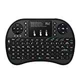 Rii Mini i8+ (Revision 2015) Schwarz mit Hintergrundbeleuchtung - Mini Wireless Tastatur mit Multitouch Touchpad perfekt für KODI, XBMC, Smart TV, Raspberry Pi, Mini PC, HTPC, Mac, Linux, Android, Windows 7, 8, 10 (2,4 GHz Funk)