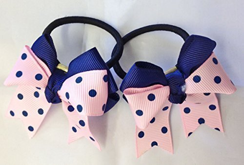 2 x rosa & blau gepunktete Schleife Haarband Elastisch Bommel Jack Wills Farben Braten (Blau Jack Fusion)
