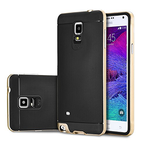 tinxi® Custodia Silicone per Samsung Galaxy Note 4(5,7 pollici) Anti-shock/Scivolo Cover Case TPU prottetiva con PC Gold Mobile phone frame