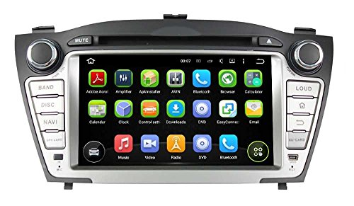 2 Din 7 pulgadas Coche Estéreo con GPS Navegación Android 5.1.1 Lollipop OS para Hyundai IX35/Tucson 2009 2010 2011 2012 2013 2014,Pantalla Táctil Capacitiva con 1.6G de la Cortex A9 Quad Core CPU 16G y 1G DDR3 RAM Flash 1024x600 Radio DVD 3G/WIFI OBD2 Aux Entrada USB/SD DVR