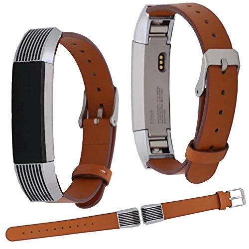 Qianyou Armband für Fitbit Alta HR, für Fitbit Alta HR Armband Leder Uhrenarmband Verstellbares Erstatzband Sport Armband Armbänder mit Metallschliese Unisex Fitness Armband,Braun